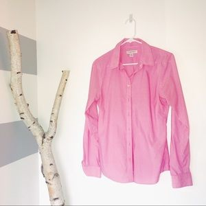 Pink Striped Button Down Top